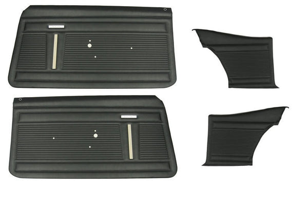 1968 Chevy Nova Standard Pre-Assembled Interior Front & Rear Door Panel Set PUI In Black