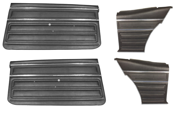 1968 Nova SS Custom PUI Pre-Assembled Interior Front & Rear Door Panel Set Black