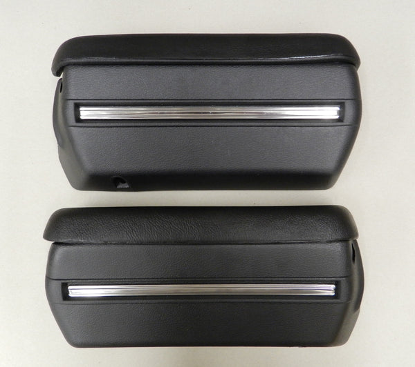 1968 1969 1970 1971 1972 Chevelle Armrest Pads & Base With Stainless Trim Black