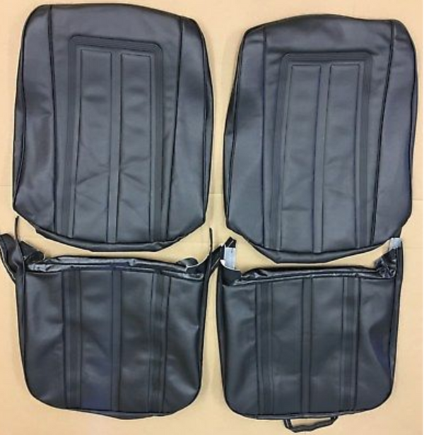 1968 Chevy II Nova SS396 Custom Rear Seat Covers Black PUI 68XS10C-1 (In Stk)