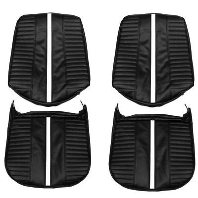 1967 Chevy II Nova SS Front Black Bucket Seat Covers W/Stripe PUI 67XS10U IN STK