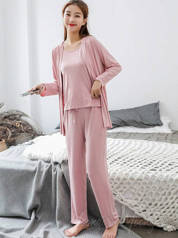 Three-Pieces Comfortable Solid Color Pajama
