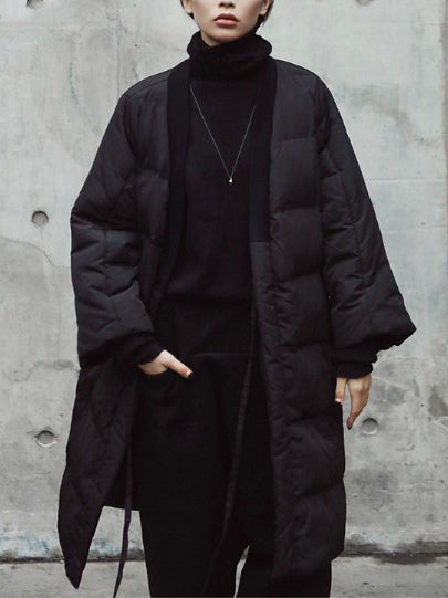 Simple Black Lace-up Cotton-padded Cloths Coat Outwear