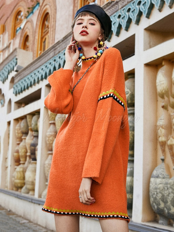 Liebo Colorful Orange Embroidered Sweater