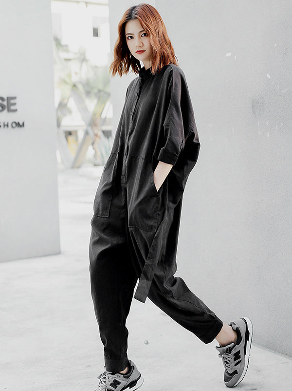 Loose Black Lace-up 3/4 Sleeves Jumpsuits