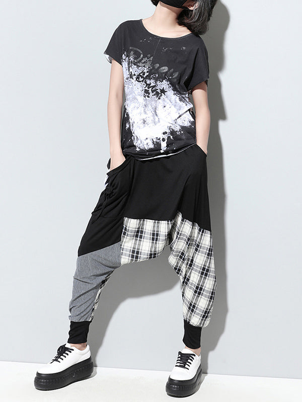 Loose Plaid Split-joint Harem Pants