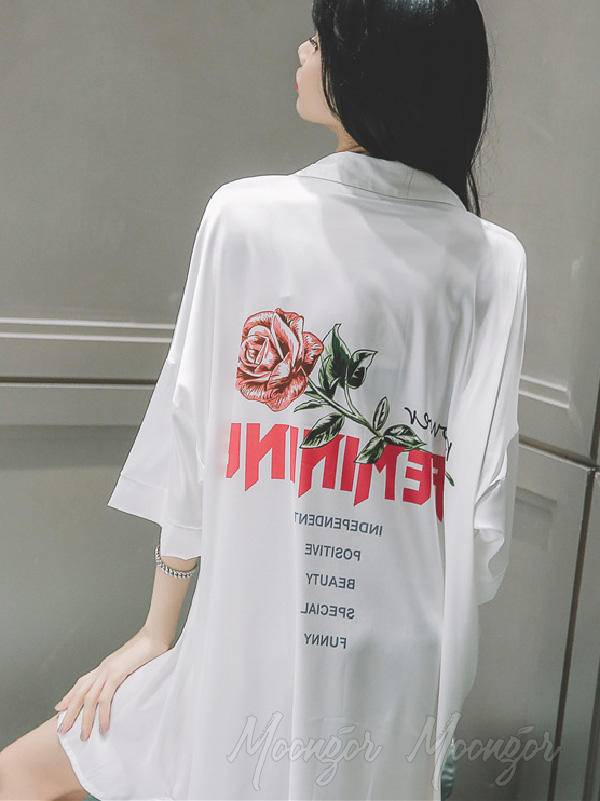 Rose Print Loose V-Neck Shirt Pajamas