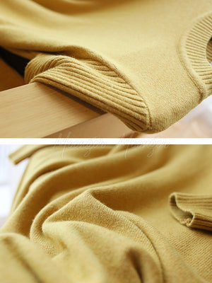 Loose Solid Round-Neck Knitting Sweater Dress
