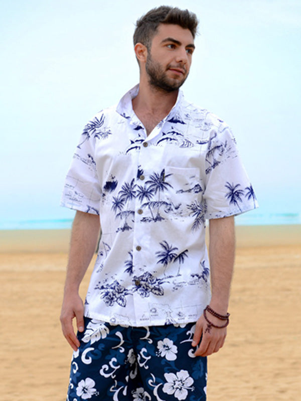 Cotton Printed Short Sleeves Men Shirt