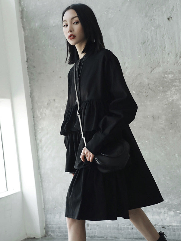 Black Split-joint Falbala Long Shirt Dress