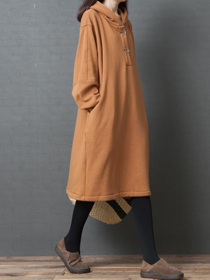 Fleece Lining Long Sleeves Loose Dress