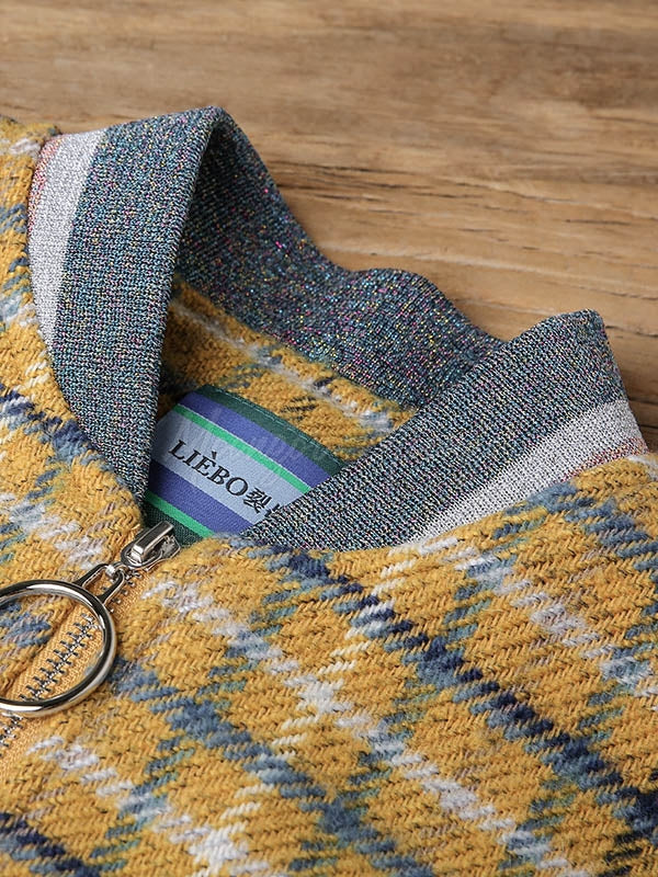 Liebo Zippered Plaid Stand Collar Wool Outwear