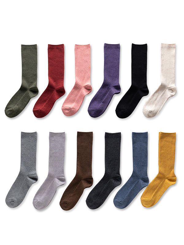 Solid Wool Blend Mid-calf Length Socks