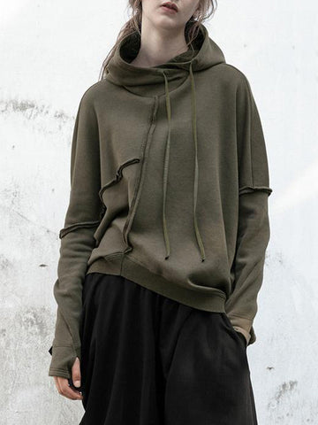 9bf31bf684489 Fashion Green Asymmetric Split Joint Hoodie Tops.  29.99.  59.99.  Embroidered Solid Loose Plus Size ...