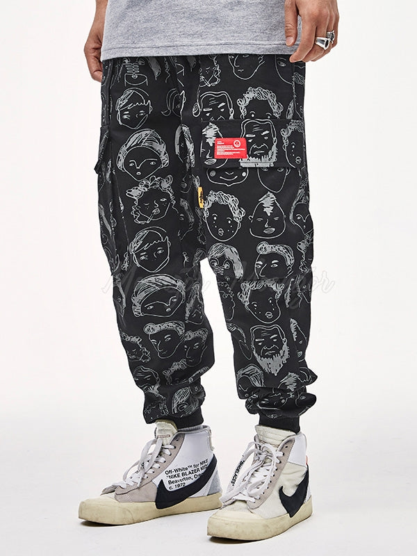 Straight Leg Printed Men's Casual Pants