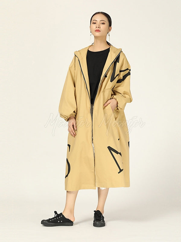 Loose Original Designed Printed Long Coat