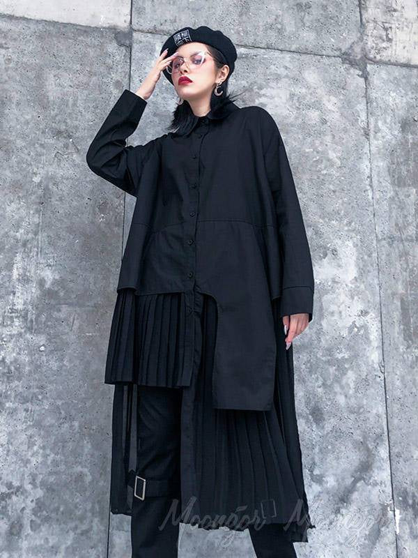 Black Loose Cropped Splicing Pleated Long Shirt