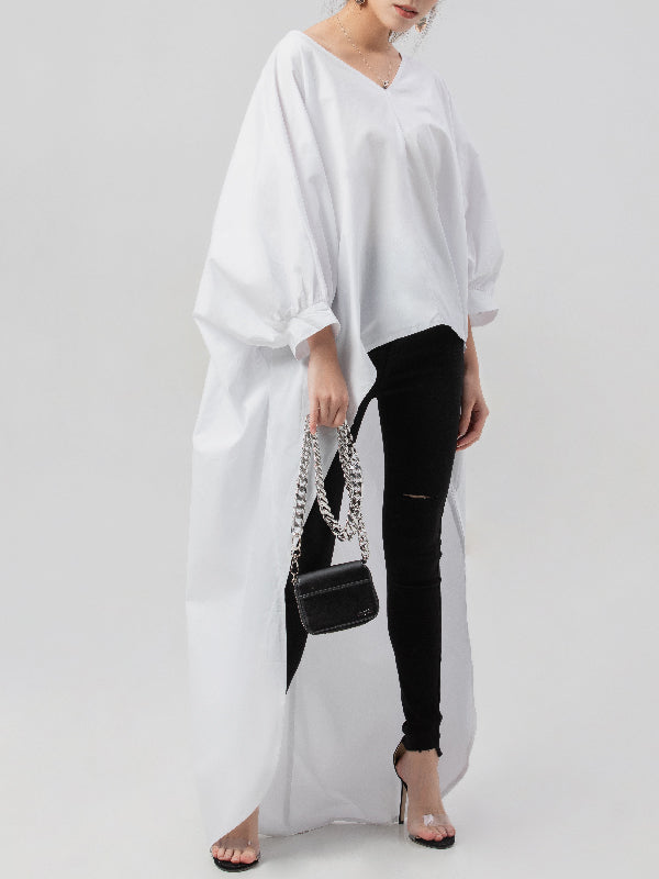 White Puff Sleeves High-low V-neck Shirt