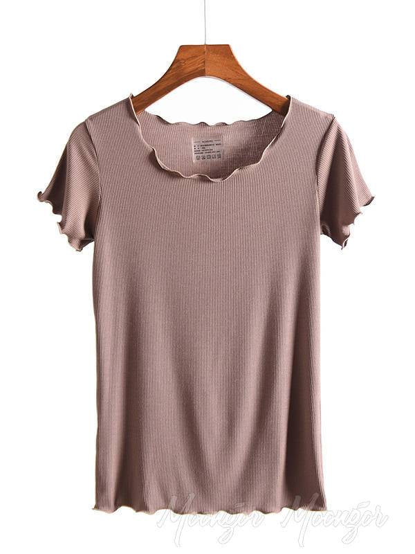 Solid Comfort Ruffled Sleeve T-Shirt