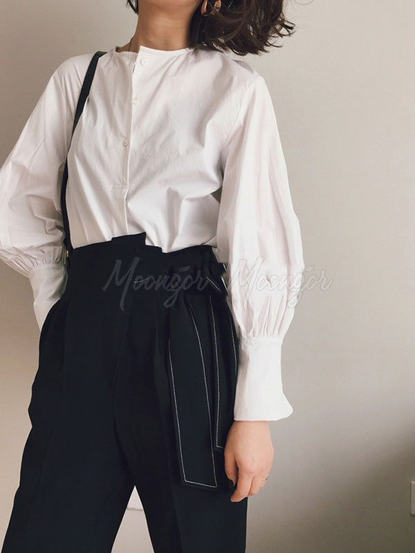 Casual Puff Sleeve White Shirt