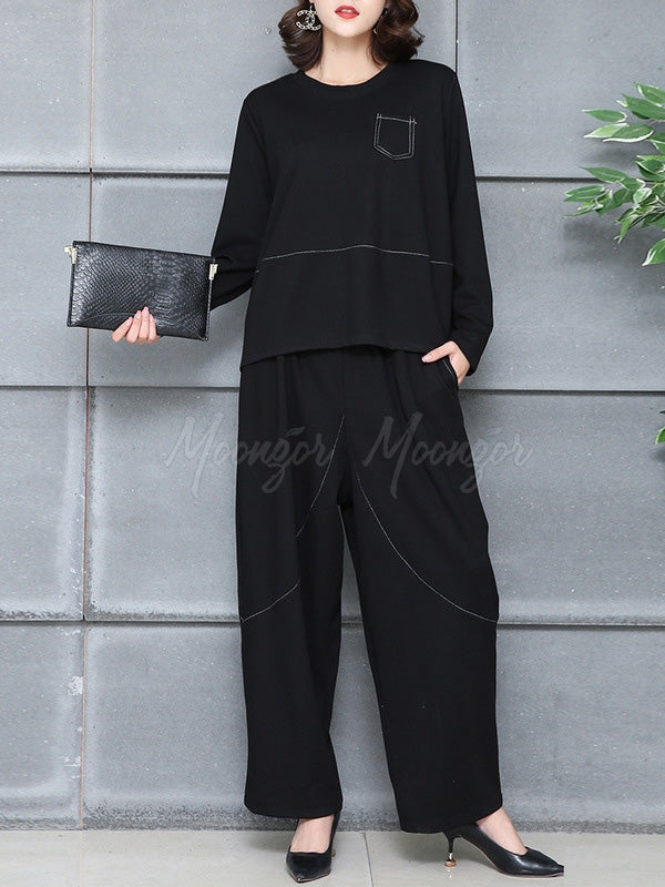 Loose Solid T-shirts&Pants Suits