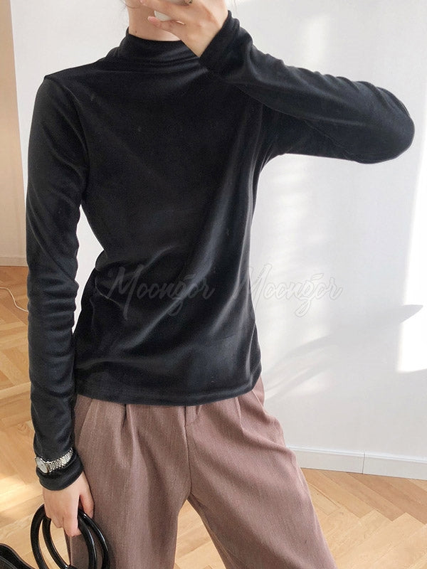 Velvet Half Turtleneck Long Sleeve Shirt