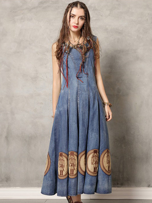 Vintage Embroidered Denim Vest Dress