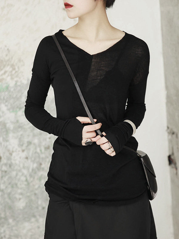 V-neck Cropped Split-joint Shirt Tops