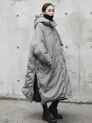 Super Loose Quilted Split-side With-hat Outwear Outerwear Long Coat