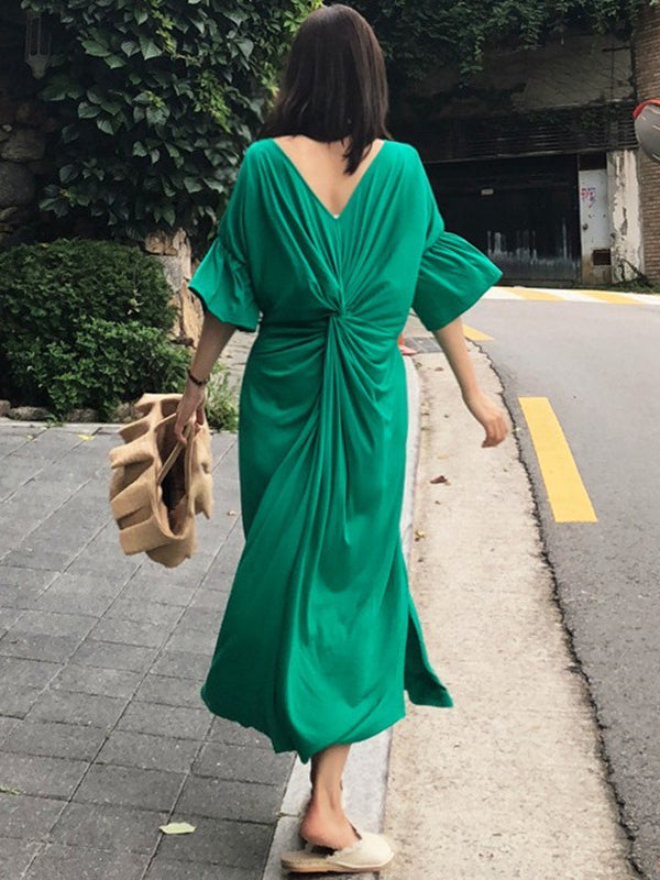Sexy Back Loose Black horn Sleeve Long Dress