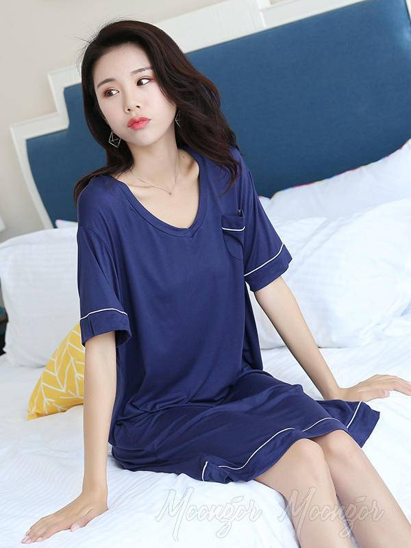 Loose Comfortable Simple V-Neck Pajamas