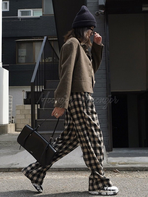 Retro Plaid Wool Wide Leg Pants