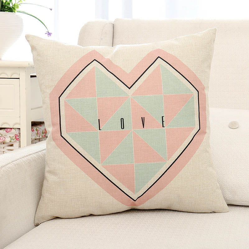 Heart & Love Letter Printed Pillow Case