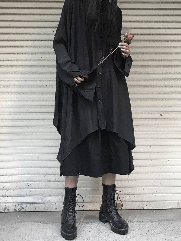 Black Asymmetrical Loose Long Outwear