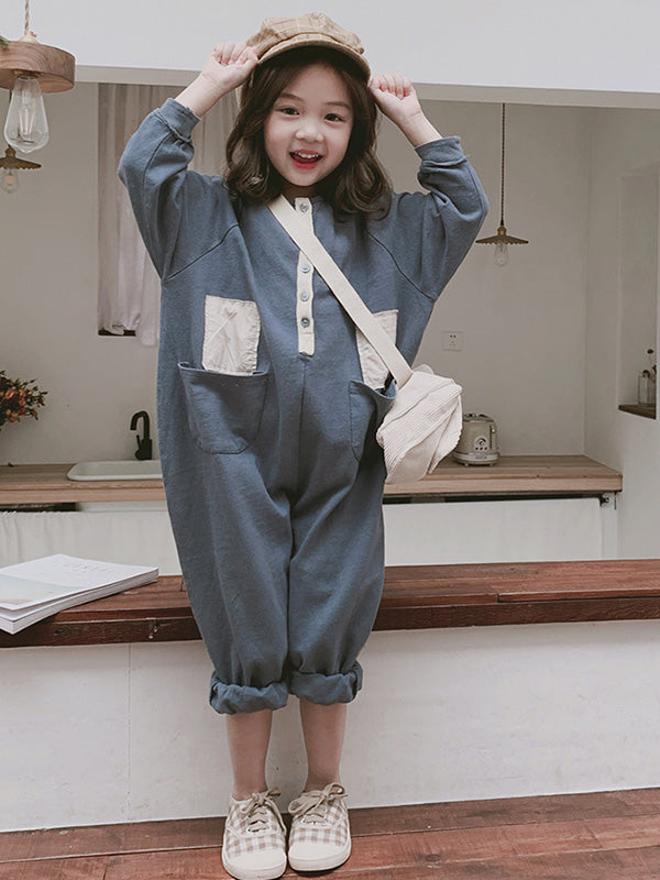 Loose Fashion Split-joint Kids Jumpsuits