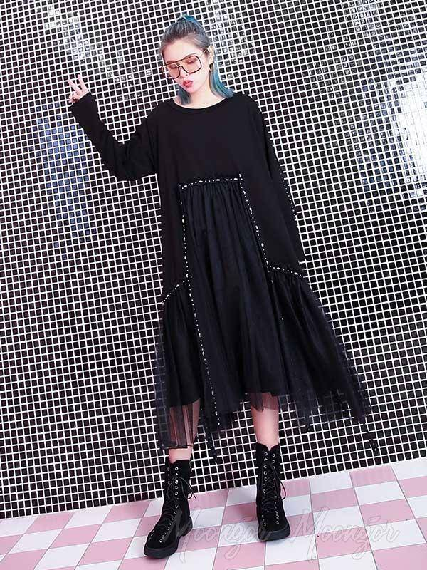 Loose Rivet Gauze Splicing Dress