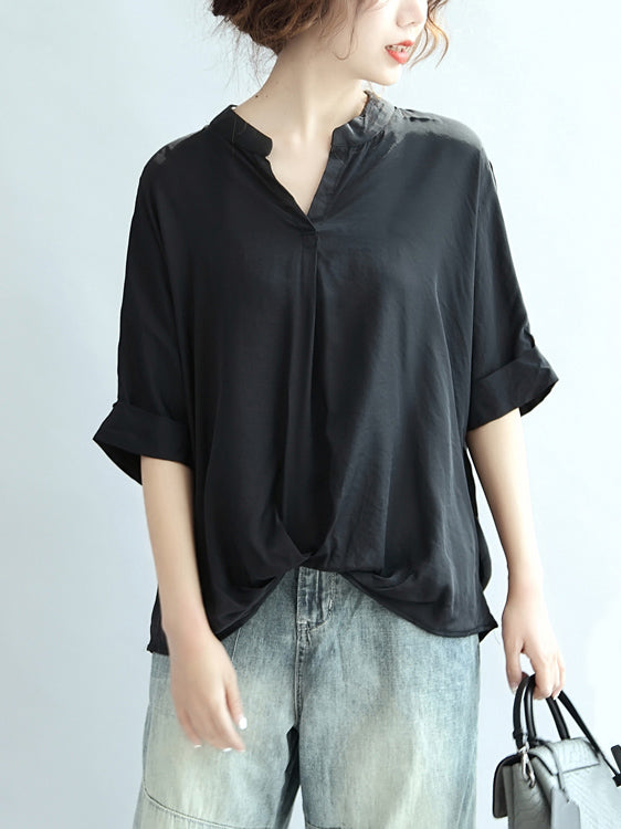 Plus Size Solid Loose Simple T-shirt Top