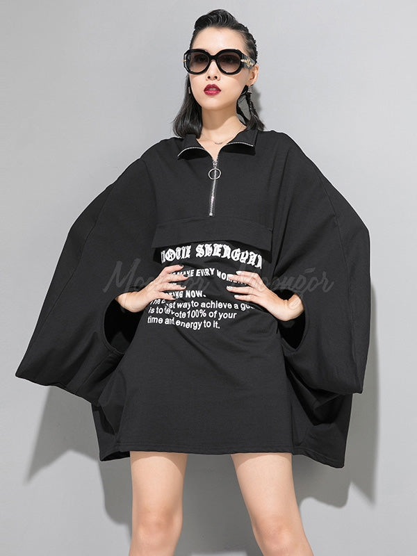 Loose Letter Printed Batwing Sleeves Cropped Cloak