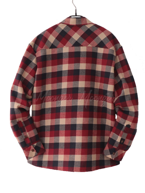 Men Long Sleeves Winter Lamb Cashmere Lined Plaid Retro Flannel Shirt