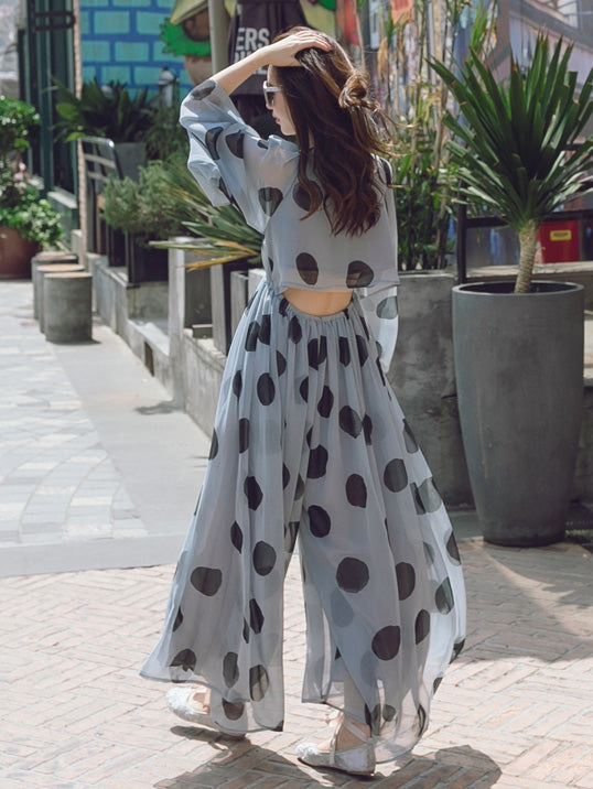 Light-blue Polka-Dot Chiffon Flared Sleeves Wide Leg Jumpsuits