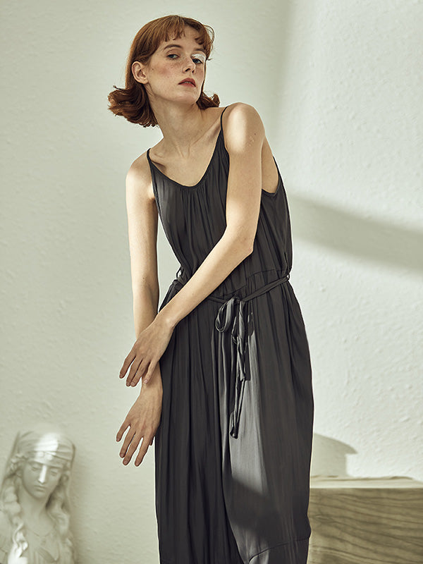Black Loose Split-joint Sleeveless Jumpsuits