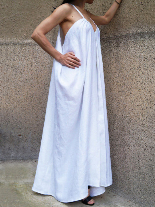 Loose White Sleeveless V-neck Long Dress