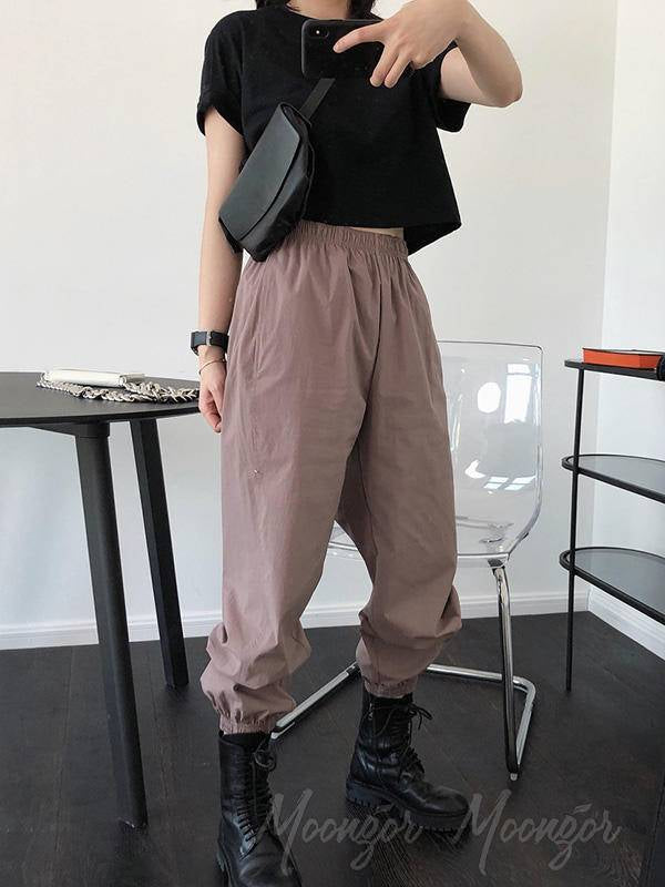 Casual Solid Ankle Banded Pants