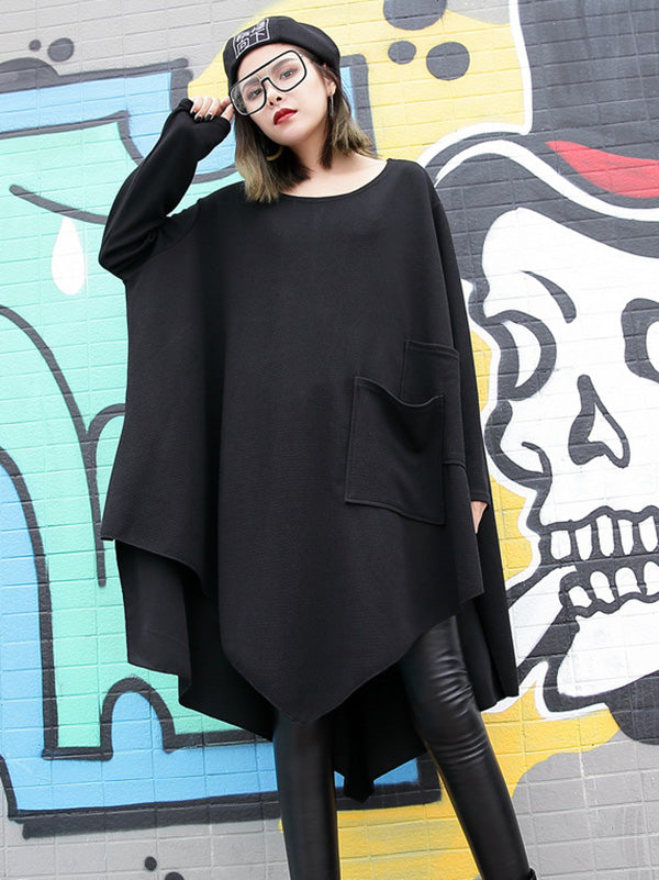 a09c5efc21d9 Loose Black Round-neck Asymmetric T-shirt Dress – moongor