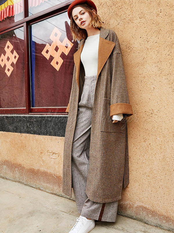 Liebo Plaid Lapel Long Wool Coat