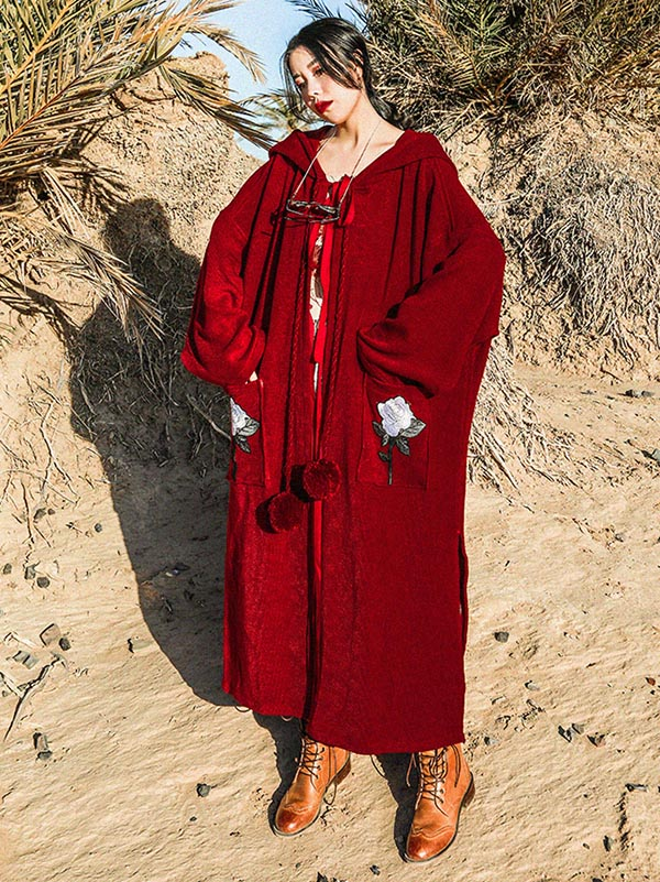 Loose Burgundy Vintage Pompom Triming Wind Coat Outwear