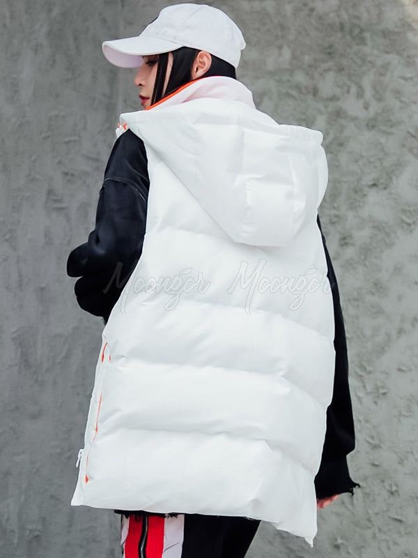 Loose Zipper Hooded Thickening Vest
