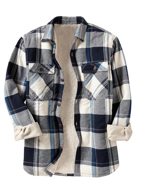 Men Casual Long Sleeves Lamb Cashmere Lined Plaid Retro Shirt