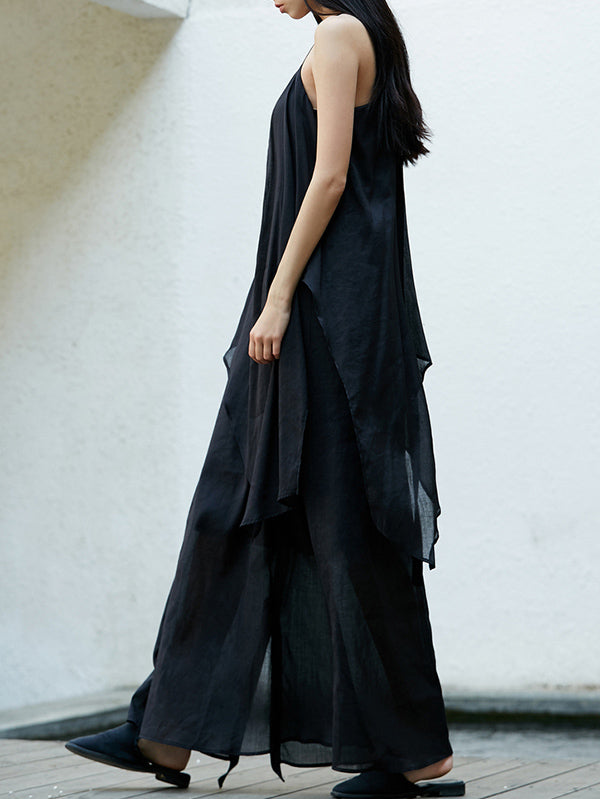 Simple Black Split-joint Split-side Long Dress