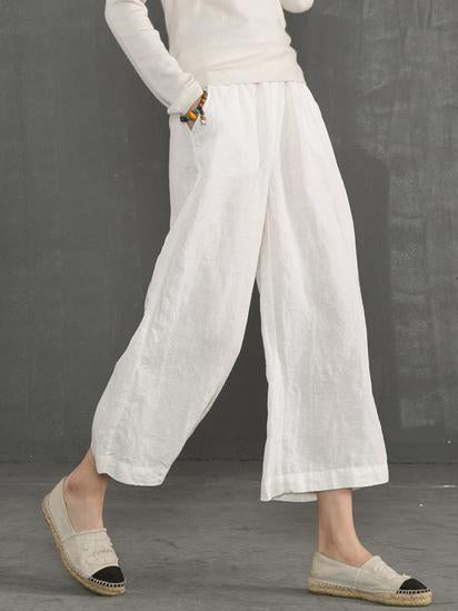 Loose Pure Color Linen Cotton Pants